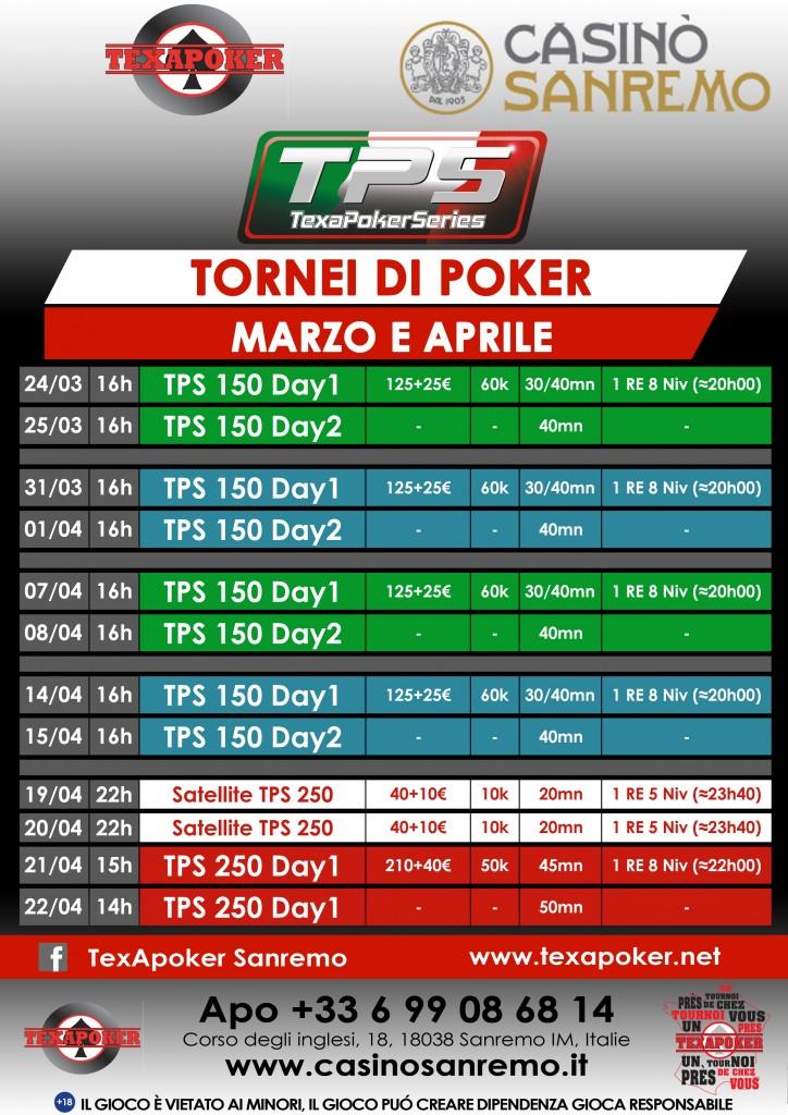 Tornei Poker Marzo aprile 2018 20180323