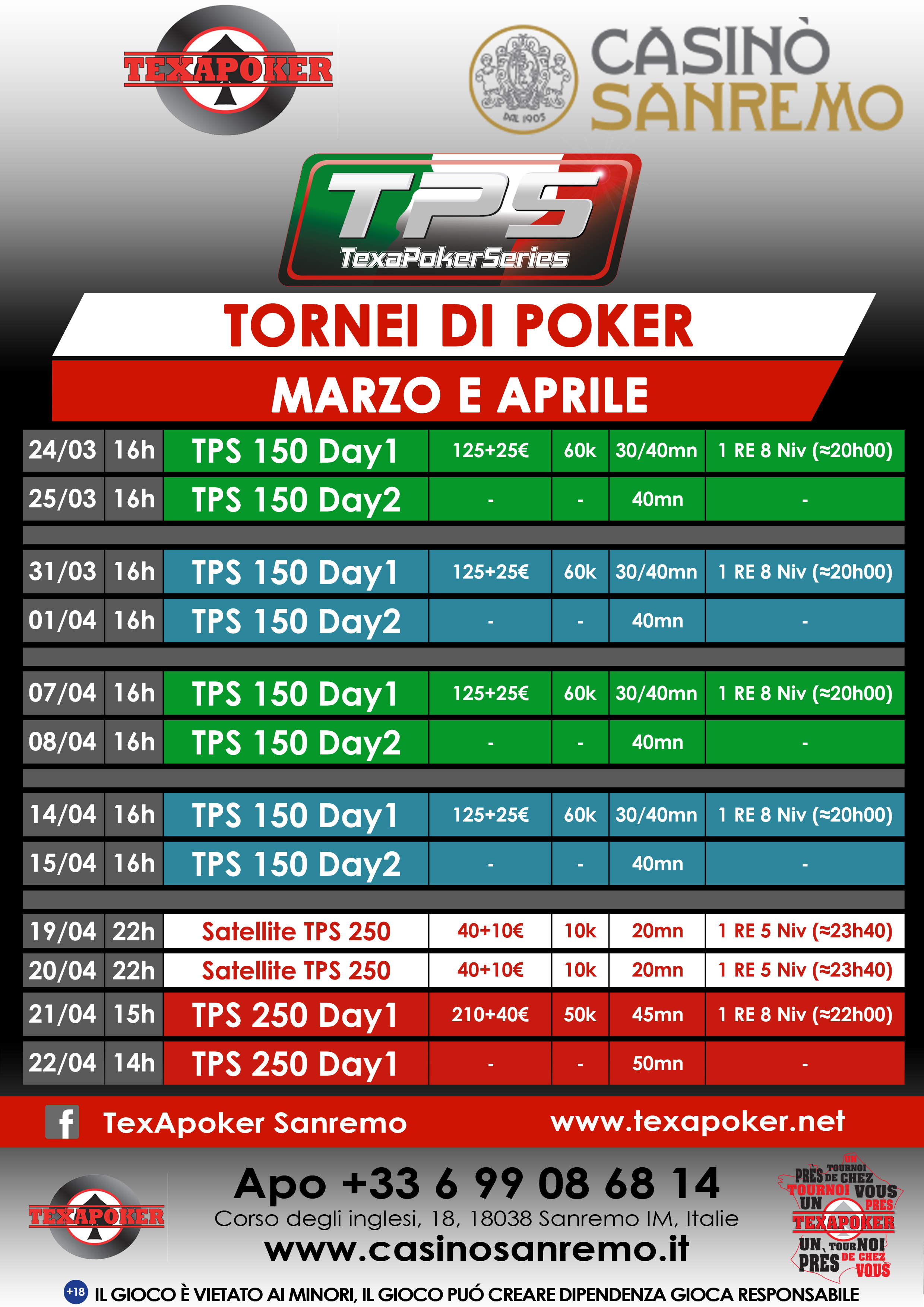 Tornei poker live 2018