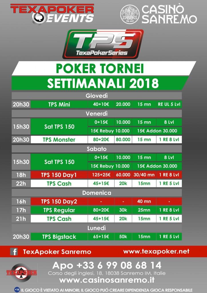 Tornei settimanali 2018regulier 20180605